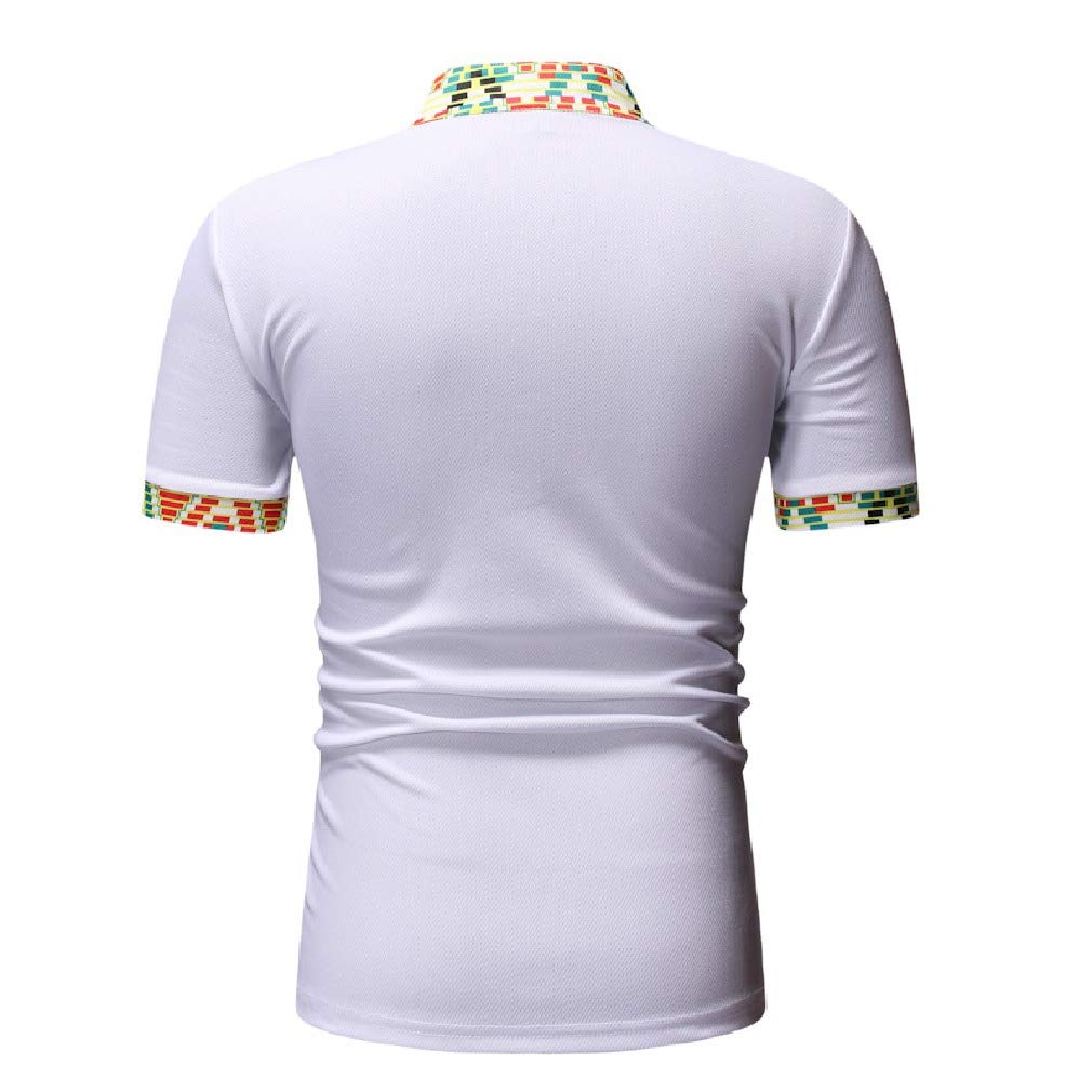 Mfasica Mens African Short-Sleeve Floral Print Polo Henley Summer Dress Shirts