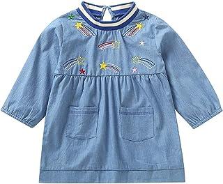 ASTV Toddler Baby Girl Cowboy Embroidery Long Sleeves Pocket Shirt Blouse Dress Top