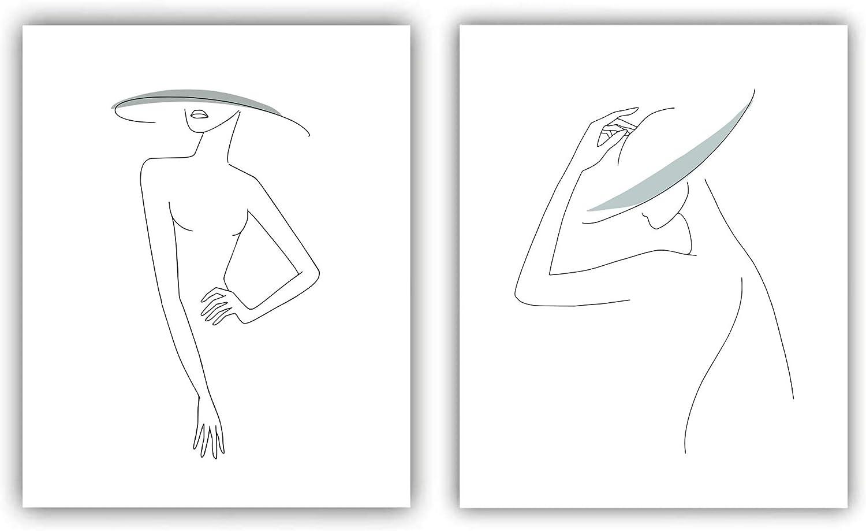 "Set of 2 Minimalist Line Art Prints (Unframed) | 8"" x 10"" | Bathroom Vanity Bedroom Living Room Decor (Color 1)"