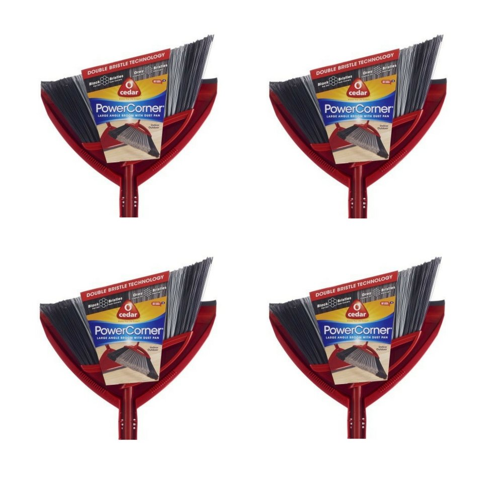 O-Cedar Power Corner Angle Broom with Dust Pan (4 pack)