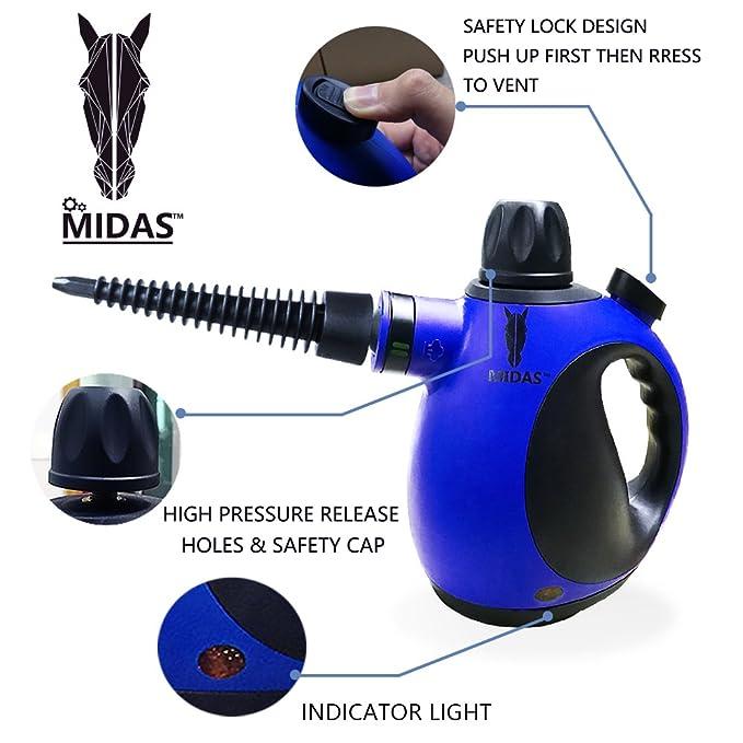 Midas Upgrade Limpiadora a Vapor portátil de Alta presión y Alta Temperatura, Quita Manchas, Arrugas y Mata chinches, Steam Cleaner (Original): Amazon.es: ...