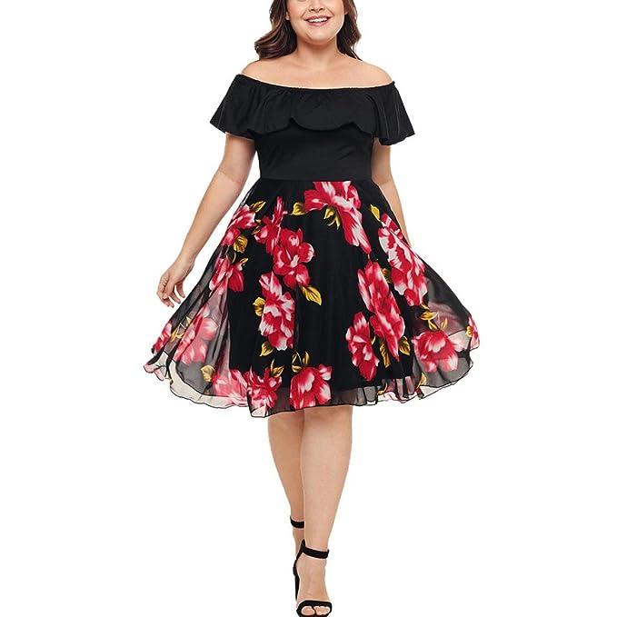 Women Boho Dress Plus Size Floral Off Shoulder Swing Dress ...