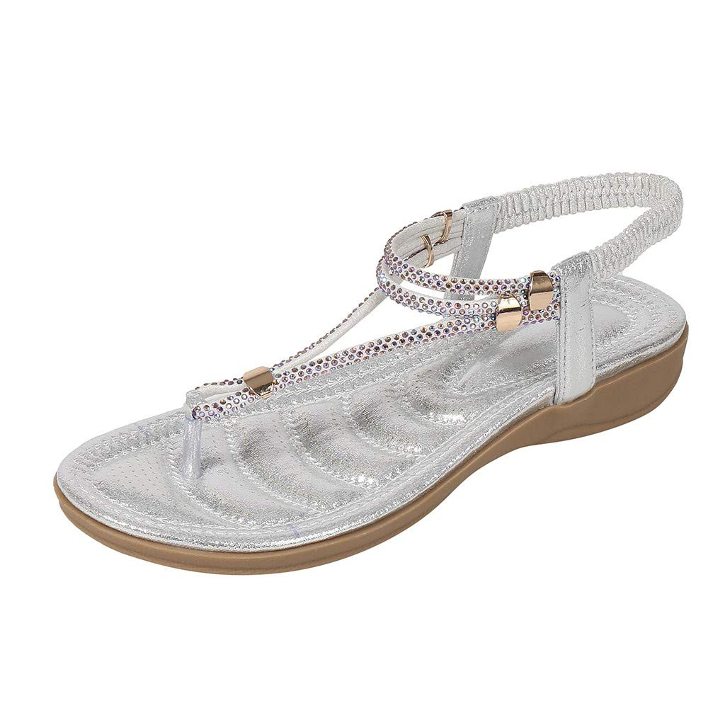 Summer Sandals for Women, ❤️ FAPIZI Crystal Flat Beach Sandals Boho Casual Walking Flip Flops Roma T-Strap Sandals Silver