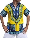 Full Funk Dashiki Light Hoody In Bright Colors Festival Party Shirt Short Sleeve, Large, Bright Yellow