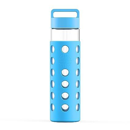 Botella de agua de cristal templado con funda de silicona y tapa de acero inoxidable,