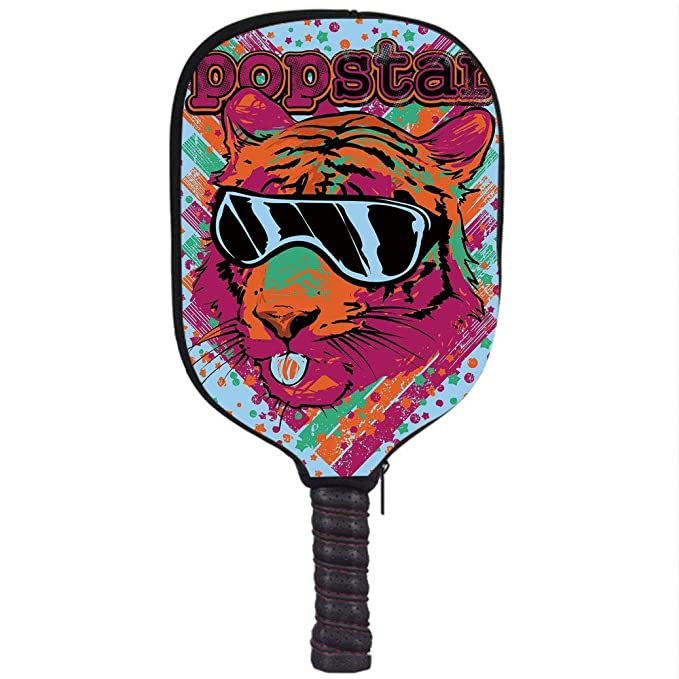 Amazon.com : Neoprene Premium Pickleball Paddle Racket Cover Case, Popstar Party, Popstar Poster Design Artistic Lion Painted with Sunglasses Dots and Stars ...
