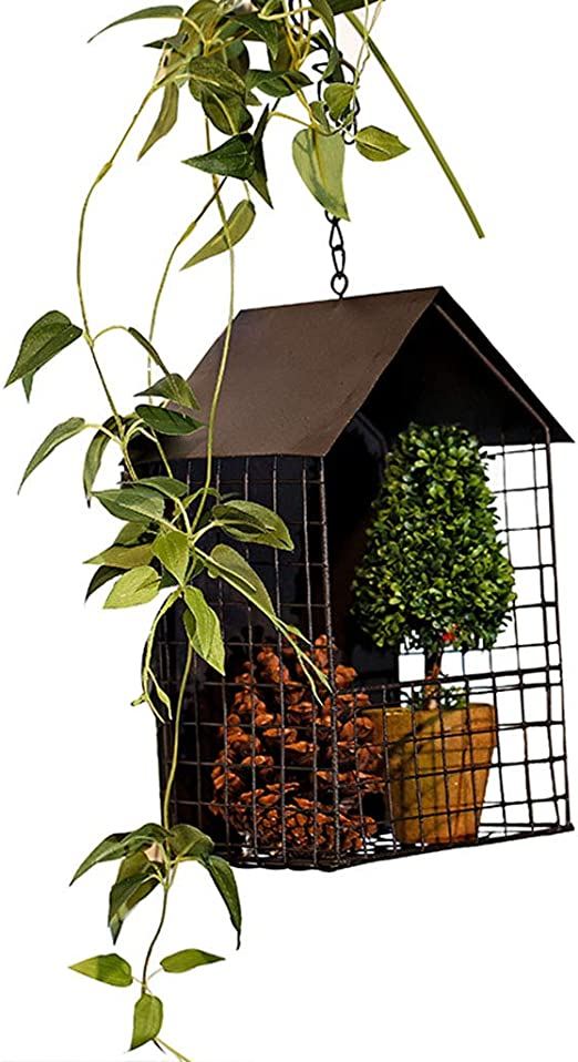 Jardinera colgante de cadena de metal, colgador de plantas de decoración de la casa para interiores,