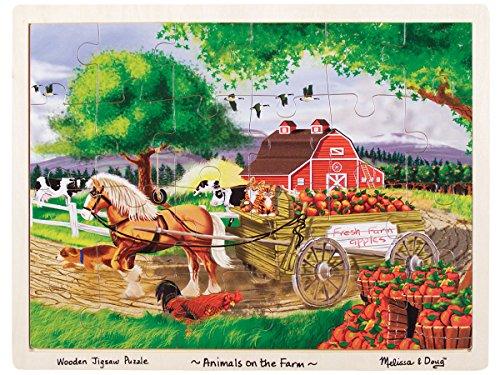Farm Animal Jigsaw - Melissa & Doug Animals on the Farm Wooden Jigsaw Puzzle With Storage Tray (24 pcs)