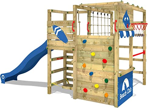 WICKEY Parque infantil de madera Smart Tactic con tobogán azul, Área de juegos da exterior, Escalera Sueco con pared de escalada para niños