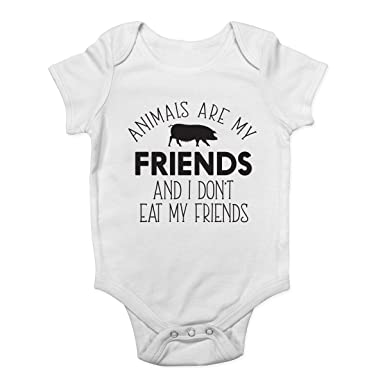 7b5e119a1 Animals Are My Friends and I Don't Eat My Friends Vegetarian Boys and Girls  Baby Vest Bodysuit: Amazon.co.uk: Clothing