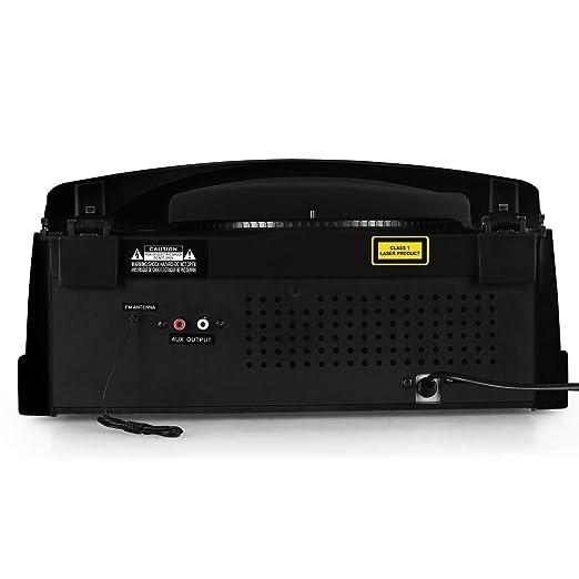 AUNA RTT-885BK Cadena estéreo Tocadiscos CD USB MP3 (Reproductor CD Integrado, Radio Am FM, digitalizador vinilos a MP3, Altavoces Estereo Integrados, ...
