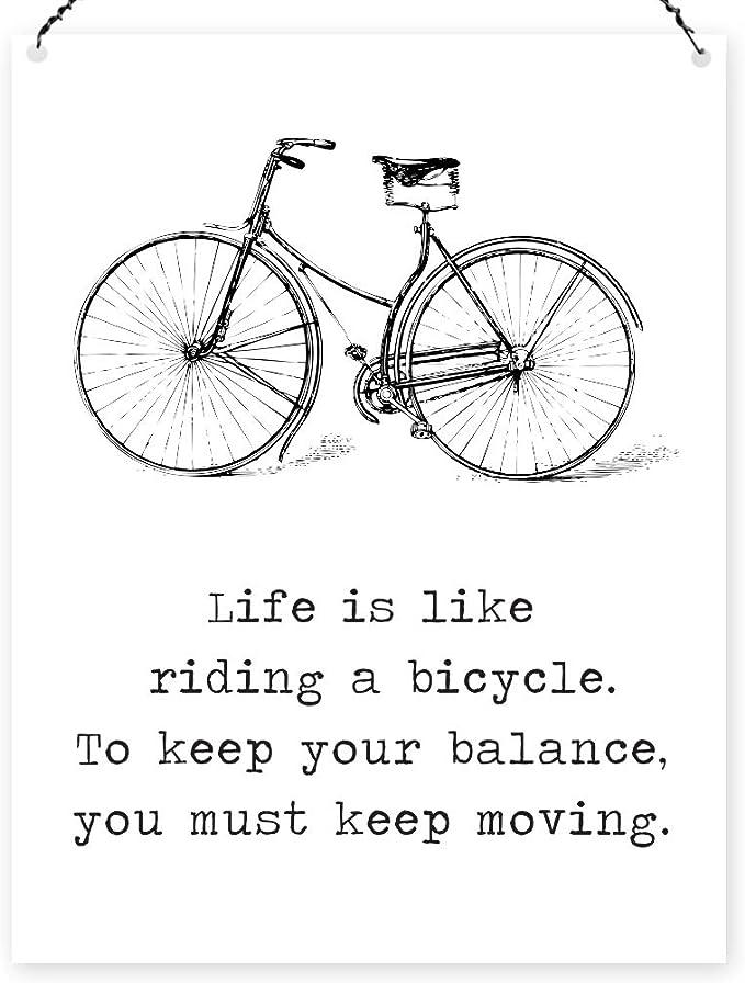 La vida es como una bicicleta Vintage Sign con texto en inglés ...