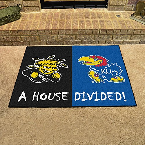 FANMATS 18686 NCAA House Divided Wichita State/Kansas House Divided Mat