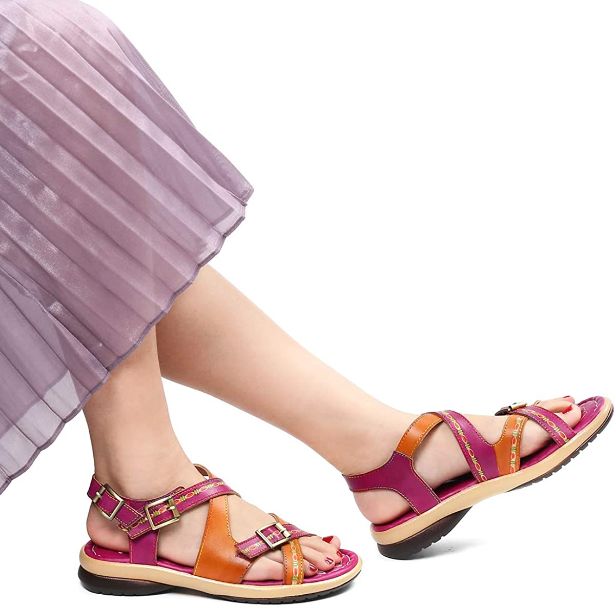 Chaussures de Ville /Ét/é Sandales Plates Semelle Confortable /à Talons Plats 2019 pour Randonn/ée Marche Pieds Larges Marron Bleu Rouge Gracosy Sandales Cuir Femmes