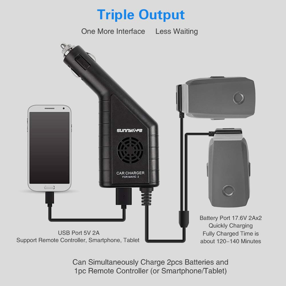 Sunnylife for DJI Mavic 2 Drone Battery Car Charger Remote Controller USB Charger 3 in 1 Car Charger Adapter for DJI Mavic 2 Pro /& Zoom Battery /& Controller