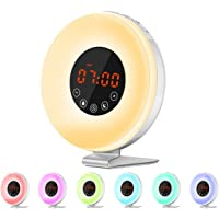 Despertador Luz Amanecer-Radio FM/Función Snooze/7 Luces Colores/6 Melodías-Reloj