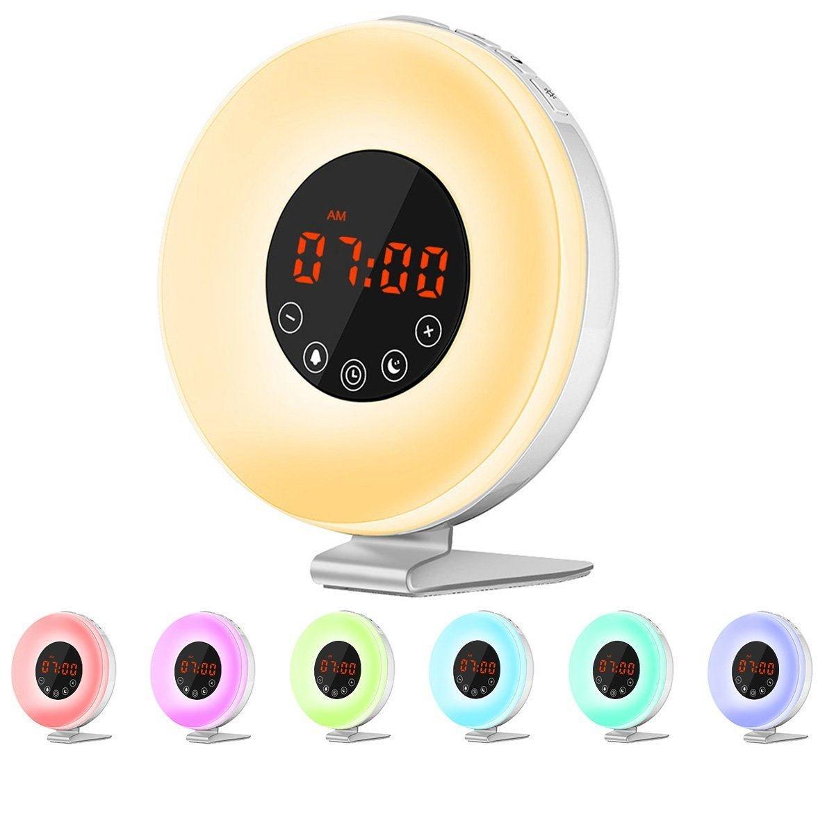 (Versione Aggiornata)Wake-up Light, Queta Sveglia Luminosa con Simulazione Alba/Tramonto Sveglia con Funzione Snooze, 6 Suoni di Allarme Naturale, Radio FM, Luce Notturna con 7 Colori/10 Luminosità