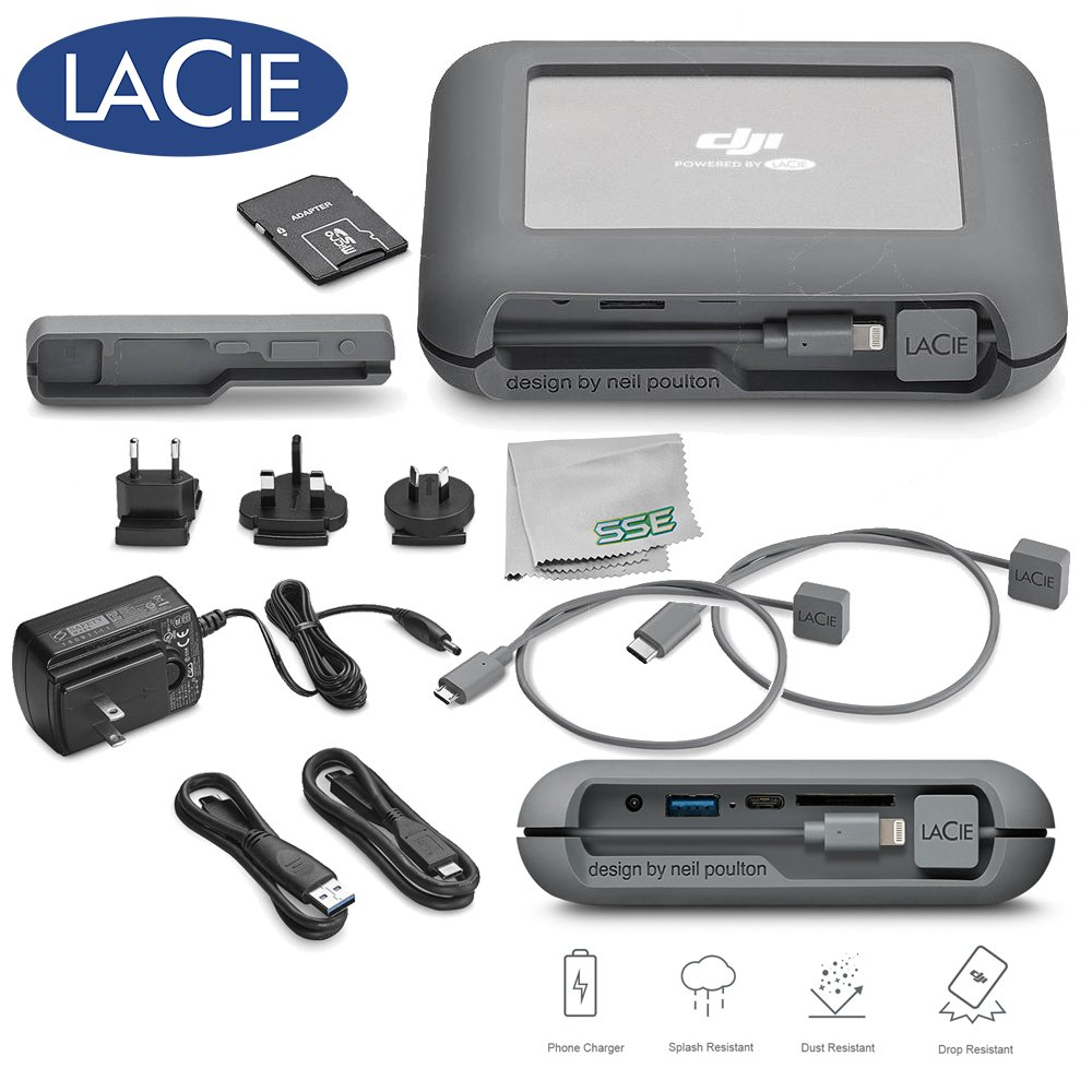 LaCie DJI Copilot BOSS Computer-free In-field Direct Backup and Power Bank with SD Reader, 2000GB + 1mo Adobe CC All Apps (2TB) Bundle (Base)