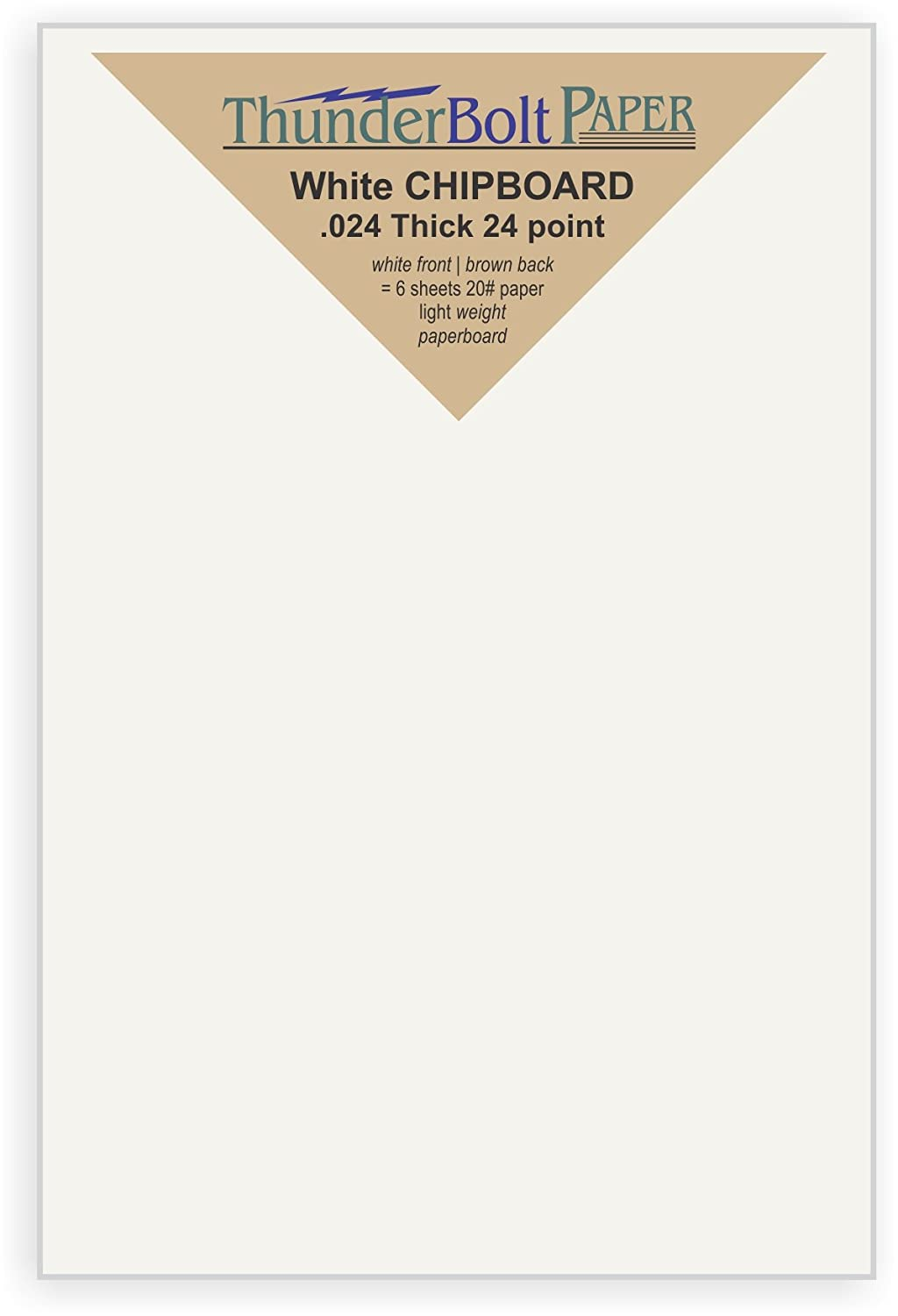 50 Sheets Chipboard 24pt white 1 side - 3 X 5 (3X5 Inches) Photo|Card|Frame Size - Light Medium Weight Thickness .024 (point) Caliper White Coated Cardboard Paper Craft|Packaging PaperBoard TBP