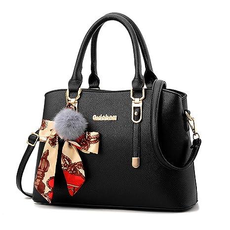 6332149c8d65 Amazon.com  Women Purses and Handbags Double Compartments Tote Bag Leather  Satchel Bags for Women (Black)  Nevenka Store