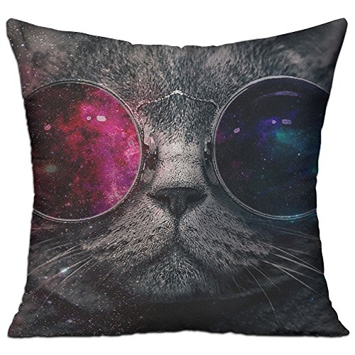 Galaxy Cat With Sunglass Throw Pillow Case Canvas Cushion Cover - R Kelly Sunglasses