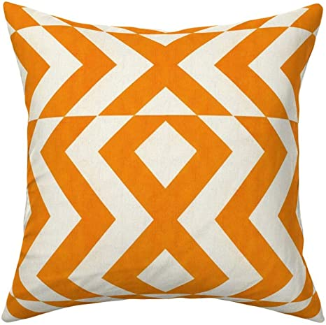 Roostery Throw Pillow Chevron Tangerine Orange Geometric Designs White Stripe Zigzag Purse Chev Rons Print Velvet Knife Edge Accent Pillow 18in X 18in With Insert Home Kitchen