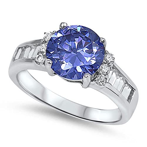 750d5da38697e2 Best Seller Simulated Tanzanite & Cz Engagement Fashion .925 Sterling  Silver Ring Size 5