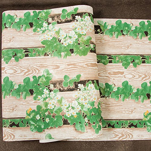 Retro Wallpaper Planks vine leaves green leaves Pvc Wall covering Home decor Contact paper For living room Bedroom-A 53x1000cm(21x394inch) (Leaf Vine Stripe Wallpaper)
