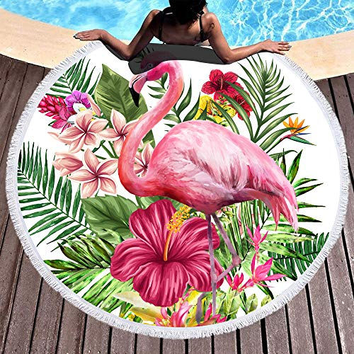 Bonsai Tree Flamingo Round Beach Towel, Microfiber Round Beach Blanket Sand Proof Oversized with Fringe Tassels, Hawaii Tropical Leaves Floral Yoga Mat 59