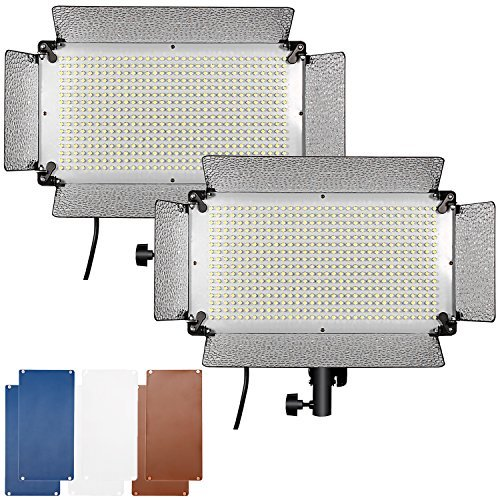 Neewer 2-Pack 500 LED Video Light with Barn Doors, 4 Dimmer Switches, White Diffusers, Color Filters(Orange,Blue) Photo Studio Lighting Kit for Canon Nikon Pentax Panasonic Sony and Other DSLR Cameras by Neewer