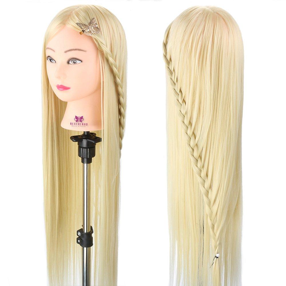 Neverland 76, 2cm 100% fibra sintetica capelli testa formazione professionale da parrucchiere pratica manichino per bambola con supporto a morsetto per scuola e uso professionale NEVERLAND Beauty & Health