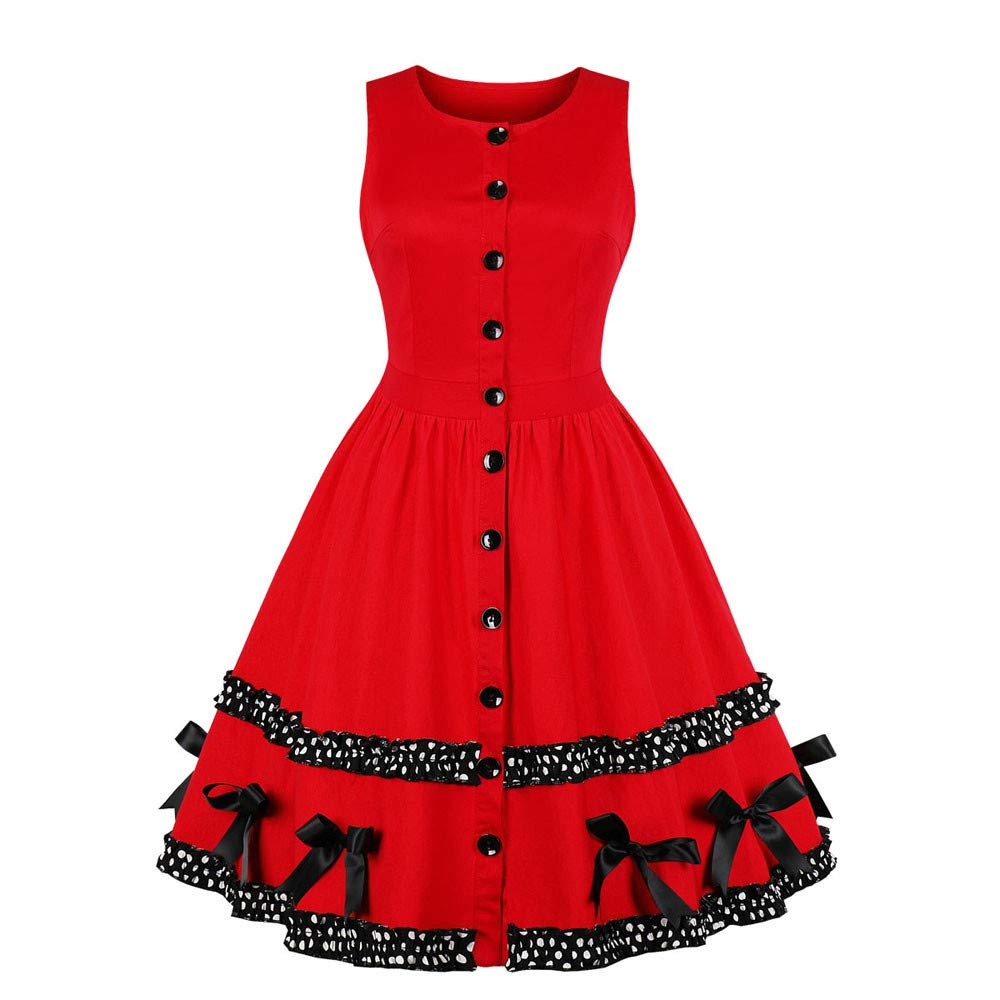 RTYou Christmas Dress, Women Newest Stylish Bowknot Rockabilly Vintage Evening Party Unique Midi Swing Dress