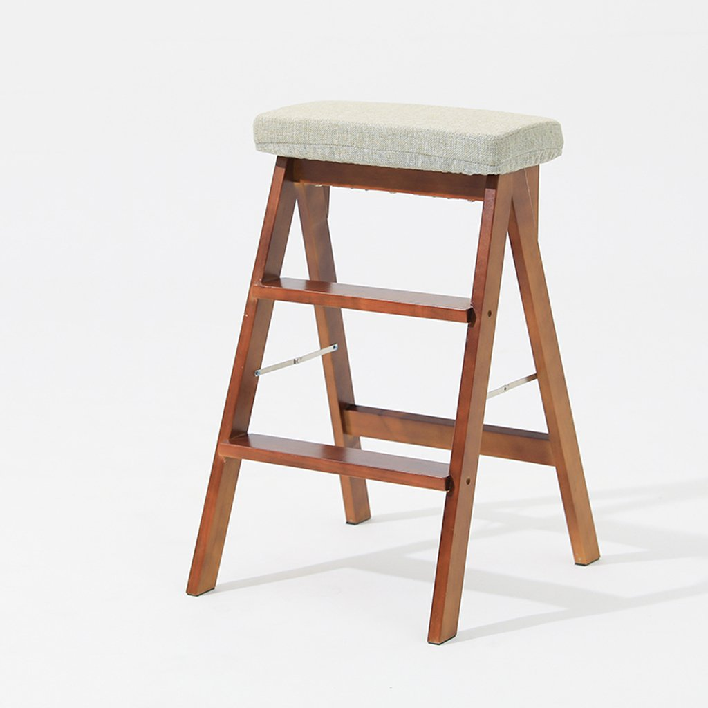 T 402064cm Solid Wood Folding Stool Home Ladder Stool Simple Modern Multifunctional Portable Folding Stool Creative Kitchen high Stool (color   D, Size   40  20  64cm)