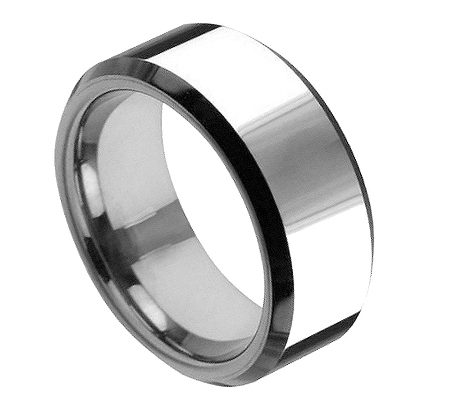 iPauly 8mm Tungsten Carbide High Polish With Black Beveled Edge Wedding Band Ring
