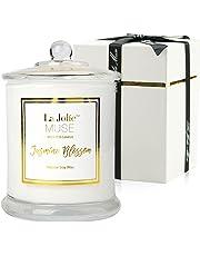 Bougie Parfumée Jasmin Bougies Coffret Cadeau pour La Fête Anniversaire Familles Maison Décor en Cire de Soja Naturellle Bio