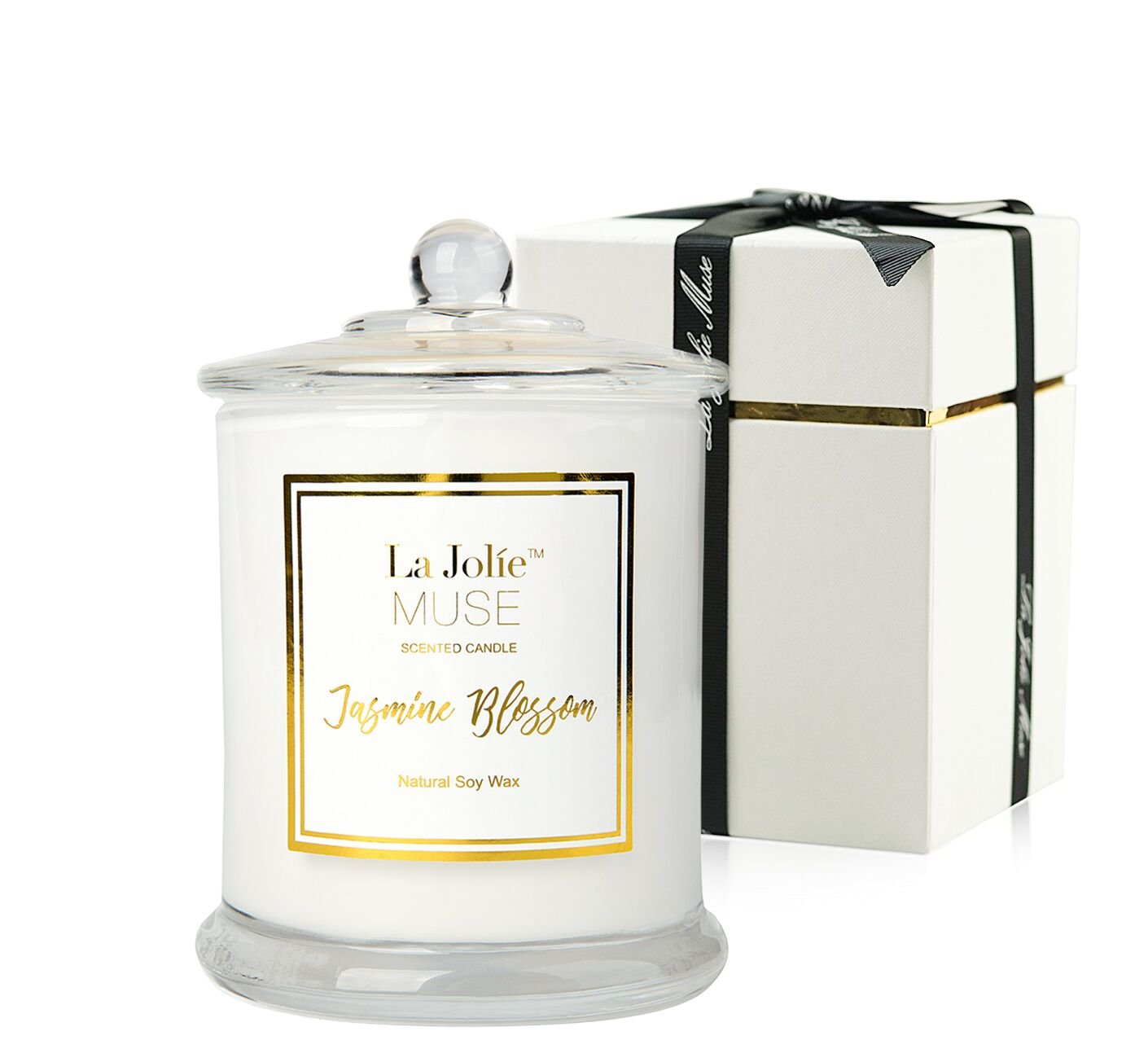 LA JOLIE MUSE Scented Candle Jasmine 100% Soy Wax in Jar Gifts Large 60 Hours
