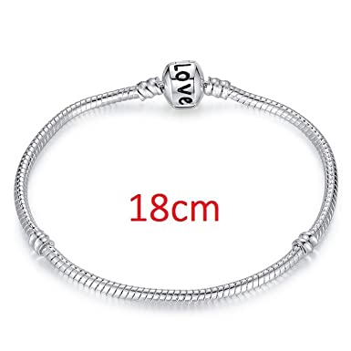 1cde89b469ece0 Image Unavailable. Image not available for. Color: JEWH Hot Silver Love  Snake Chain Fit Original Bracelet Charm Bead Jewelry Gift for Men Women