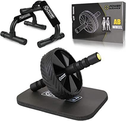 Amazon Com Power Guidance Ab Wheel Push Up Bar Exercise Home Gym Equipment For 6 Pack Abs Core Workout Roller With Innovative Non Slip Rubber Extra Thick Knee Pad
