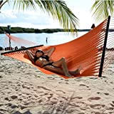 Tropic Island Large Soft Spun Polyester Sunset Orange Caribbean Hammock with FREE Hanging Hardware