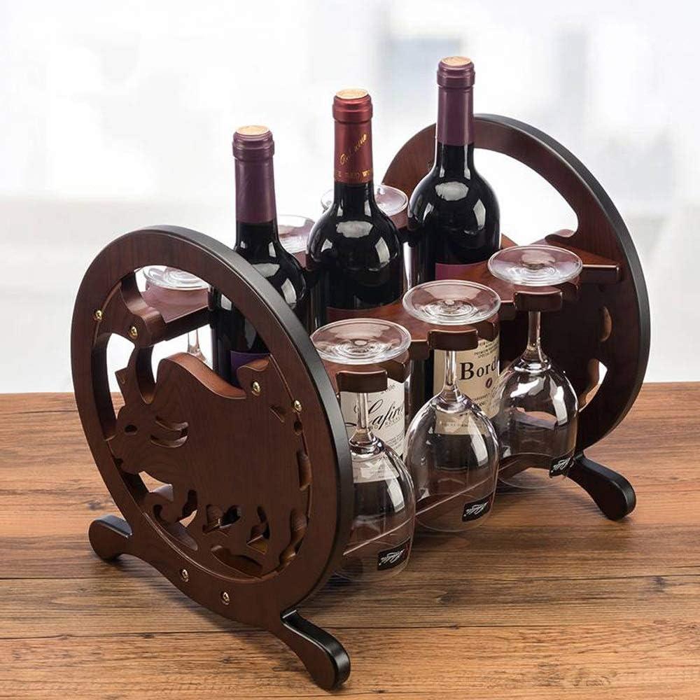 ワインラック・ホルダー ヨーロッパのブドウはワインキャビネット装飾シンプルな組み立てワイングラスラックワイン収納木製ワインラックラック ワインストレージ 家飾り (Color : Brown, Size : 27x33x28cm)