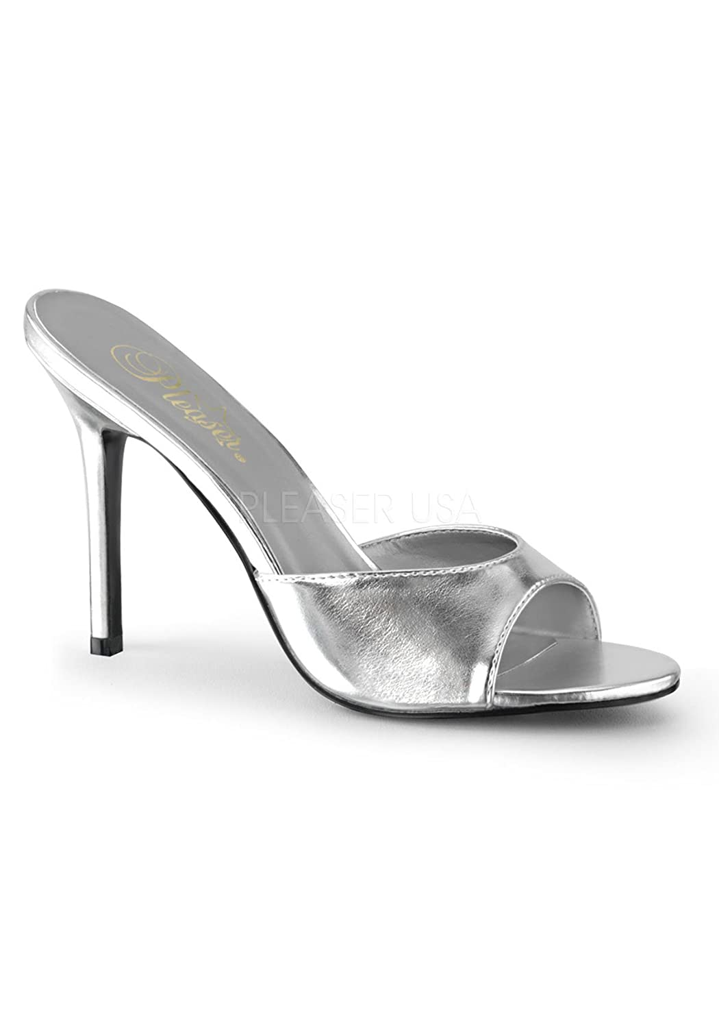 Pleaser CLASSIQUE-01 CLASSIQUE-01 Pleaser Damen Pantolette, PU Silber Metallic, EU 44 (US 13) 0a7c82