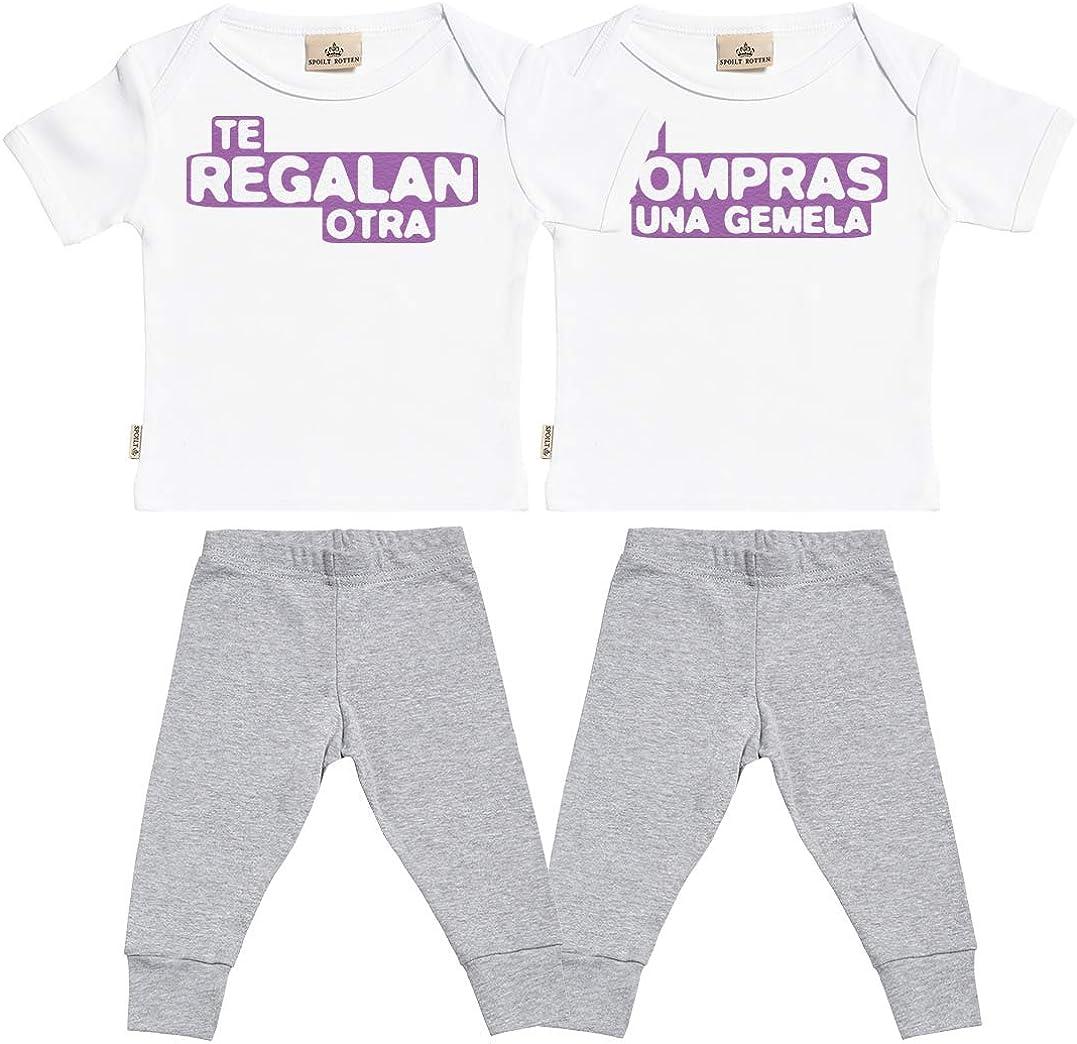 SR - Si Compras una Gemela & te regalan Otra - Conjunto Gemelo - Regalo para bebé - Blanco Camiseta para bebés & Negro Pantalones para bebé - Ropa Conjuntos para bebé