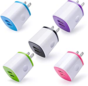 Charging Block Cubes, USB Wall Charger, 5-Pack 2.1A Dual Port Phone Charging Brick Box Compatible iPhone SE/12/11 Pro/XS max/XR/X/8/7 Plus, iPad, Samsung Galaxy S10E/S9+,Google, Moto Z4, Android Phone