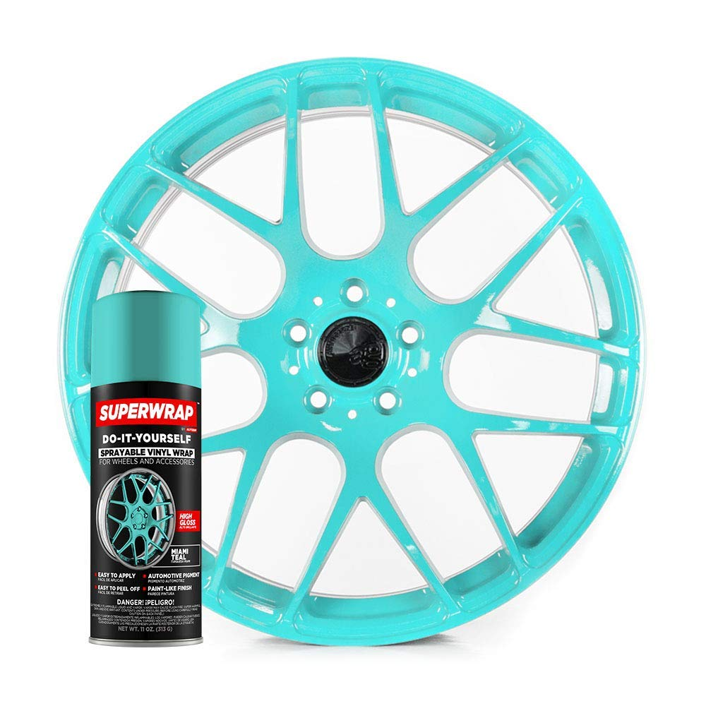 Superwrap Sprayable Vinyl Wrap - High Gloss Finish - Covers 4 Car Wheels Up to 19'' or 2 Motorcycle Wheels - Miami Teal - Wheel Kit