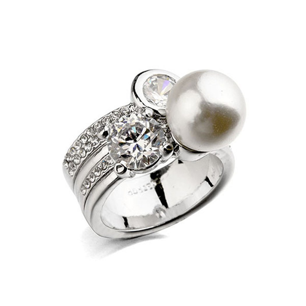 ITALIANA Silver Ring Artificial Pearl 6 7 8 9 Women Girl Wedding Engagement Gift
