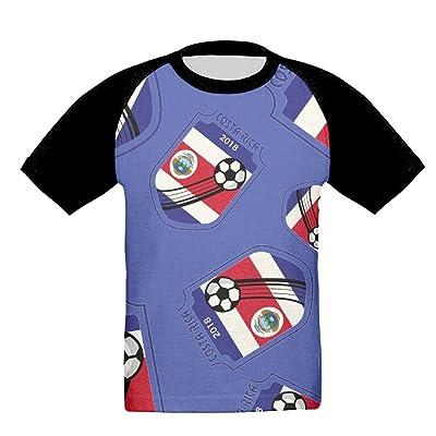 2018 Football Costa Rica Kids Athletic Crew Neck Raglan Short Sleeve T Shirts