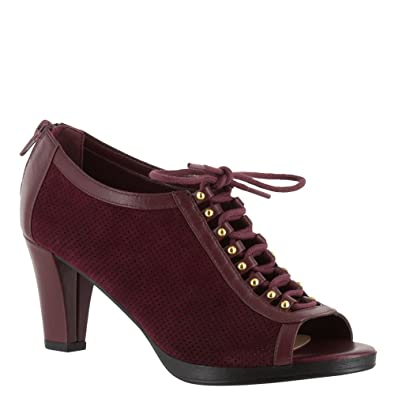 Bella Vita Women's Lilo Peep Toe,Burgundy Suede/Burgundy Leather,US ...