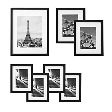 SONGMICS Picture Frames Set of 7 Pieces, One 11  x 14 , Two 8  x 10 , Four 6  x 8 , with White Mat Real Glass, for Multiple Photos, Black Wood Grain URPF37BK