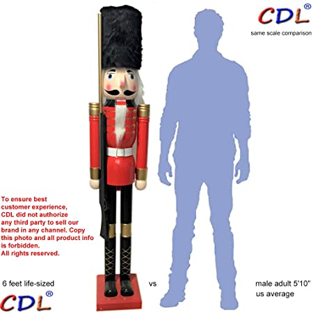 cdl 180cm 6ft tall life size largegiant christmas wooden nutcracker soldier ornament on