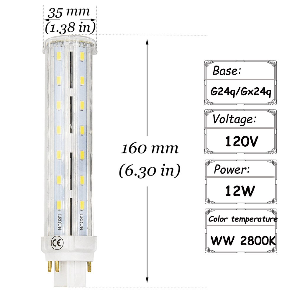 Compact Fluorescent 4 Pin Wiring Diagram Library Of An Led Bulb G24q Base Lustaled 12w Gx24q Rotatable Pl Corn Light Lamps Warm